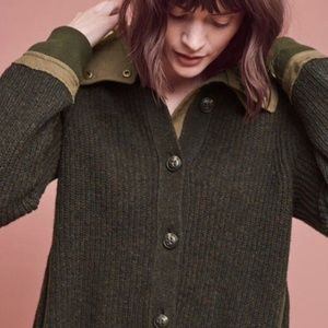 Anthropologie Moth Evergreen Sweater Jacket